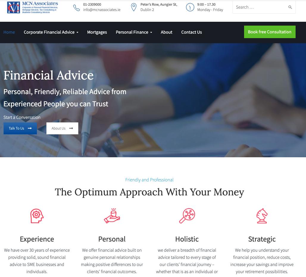 McN Associates UX design homepage